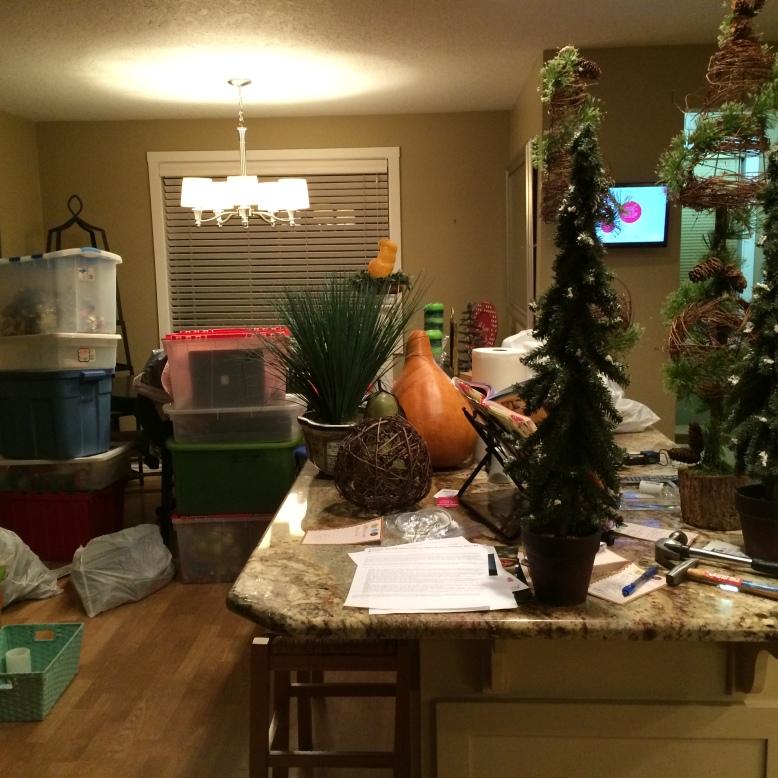 Christmas decoration mess