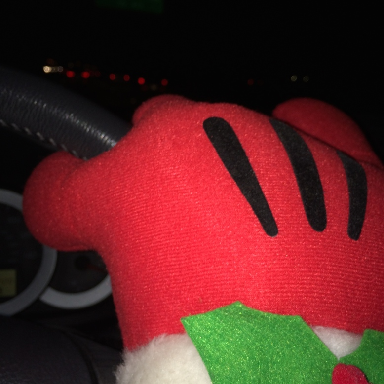 This is my Christmas Mickey hand driving to OSU to pick up Bridgette.